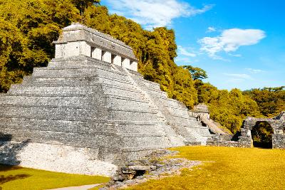 ¡Viva Mexico! Collection - The Temple of the Inscription with Fall Colors - Palenque-Philippe Hugonnard-Photographic Print