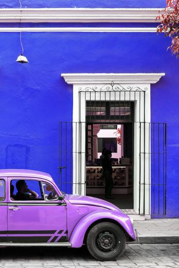 ¡Viva Mexico! Collection - Volkswagen Beetle Car - Royal Blue & Purple-Philippe Hugonnard-Photographic Print