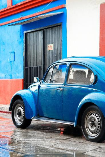 ¡Viva Mexico! Collection - VW Beetle Car and Blue Wall-Philippe Hugonnard-Photographic Print