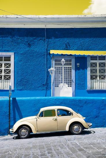 ?Viva Mexico! Collection - VW Beetle Car and Royal blue Wall-Philippe Hugonnard-Photographic Print
