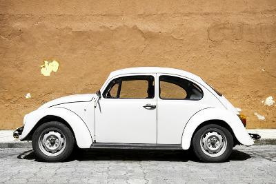 ¡Viva Mexico! Collection - White VW Beetle Car and Caramel Street Wall-Philippe Hugonnard-Photographic Print