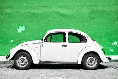 ?Viva Mexico! Collection - White VW Beetle Car and Green Street Wall-Philippe Hugonnard-Photographic Print