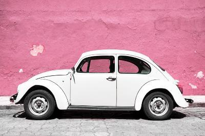 ?Viva Mexico! Collection - White VW Beetle Car and Light Pink Street Wall-Philippe Hugonnard-Photographic Print