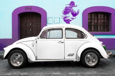 ¡Viva Mexico! Collection - White VW Beetle Car and Purple Graffiti-Philippe Hugonnard-Photographic Print