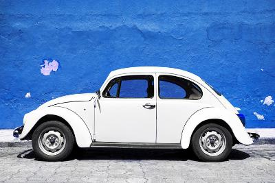?Viva Mexico! Collection - White VW Beetle Car and Royal Blue Street Wall-Philippe Hugonnard-Photographic Print