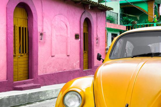 ¡Viva Mexico! Collection - Yellow VW Beetle Car and Colorful House-Philippe Hugonnard-Photographic Print