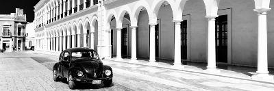 ¡Viva Mexico! Panoramic Collection - Black VW Beetle and Mexican Architecture B&W II-Philippe Hugonnard-Photographic Print
