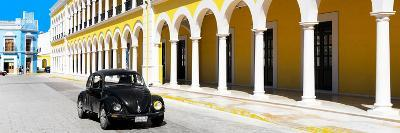 ¡Viva Mexico! Panoramic Collection - Black VW Beetle and Yellow Architecture-Philippe Hugonnard-Photographic Print