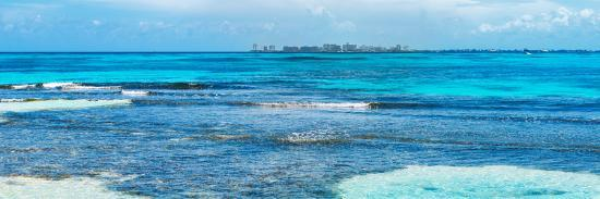 ¡Viva Mexico! Panoramic Collection - Caribbean Coastline overlooking Cancun-Philippe Hugonnard-Photographic Print