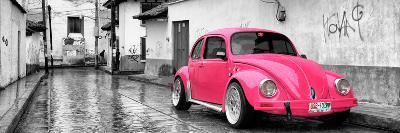 ¡Viva Mexico! Panoramic Collection - Deep Pink VW Beetle Car in San Cristobal de Las Casas-Philippe Hugonnard-Photographic Print