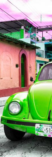 ¡Viva Mexico! Panoramic Collection - Green VW Beetle Car and Colorful Houses-Philippe Hugonnard-Photographic Print