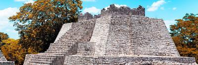 ¡Viva Mexico! Panoramic Collection - Maya Archaeological Site with Fall Colors - Campeche-Philippe Hugonnard-Photographic Print