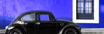 ¡Viva Mexico! Panoramic Collection - The Black VW Beetle Car with Royal Blue Wall-Philippe Hugonnard-Photographic Print