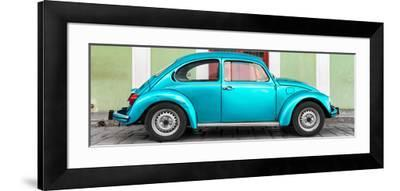 ¡Viva Mexico! Panoramic Collection - The Turquoise VW Beetle Car with Lime Green Street Wall-Philippe Hugonnard-Framed Photographic Print
