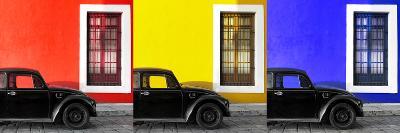 ¡Viva Mexico! Panoramic Collection - Three Black VW Beetle Cars VIII-Philippe Hugonnard-Photographic Print