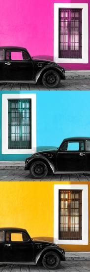 ¡Viva Mexico! Panoramic Collection - Three Black VW Beetle Cars XIII-Philippe Hugonnard-Photographic Print