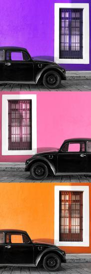 ¡Viva Mexico! Panoramic Collection - Three Black VW Beetle Cars XIV-Philippe Hugonnard-Photographic Print