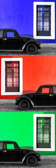 ¡Viva Mexico! Panoramic Collection - Three Black VW Beetle Cars XV-Philippe Hugonnard-Photographic Print