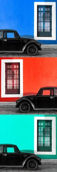 ¡Viva Mexico! Panoramic Collection - Three Black VW Beetle Cars XVII-Philippe Hugonnard-Photographic Print