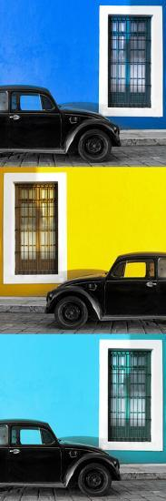 ¡Viva Mexico! Panoramic Collection - Three Black VW Beetle Cars XX-Philippe Hugonnard-Photographic Print