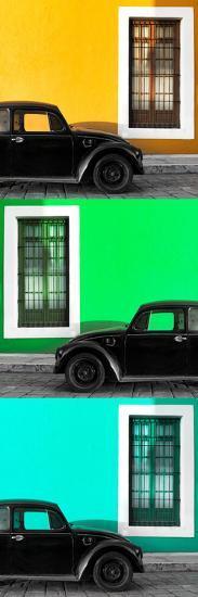 ¡Viva Mexico! Panoramic Collection - Three Black VW Beetle Cars XXI-Philippe Hugonnard-Photographic Print