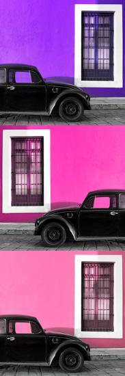 ¡Viva Mexico! Panoramic Collection - Three Black VW Beetle Cars XXIII-Philippe Hugonnard-Photographic Print