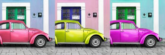 ¡Viva Mexico! Panoramic Collection - Three VW Beetle Cars with Colors Street Wall XII-Philippe Hugonnard-Photographic Print