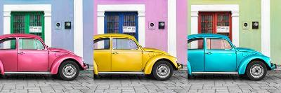 ¡Viva Mexico! Panoramic Collection - Three VW Beetle Cars with Colors Street Wall XV-Philippe Hugonnard-Photographic Print
