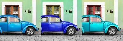 ¡Viva Mexico! Panoramic Collection - Three VW Beetle Cars with Colors Street Wall XVI-Philippe Hugonnard-Photographic Print