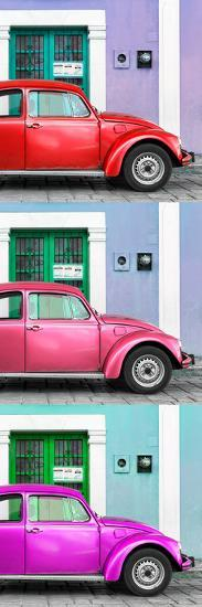 ¡Viva Mexico! Panoramic Collection - Three VW Beetle Cars with Colors Street Wall XXX-Philippe Hugonnard-Photographic Print