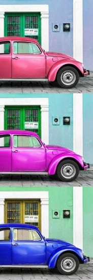 ¡Viva Mexico! Panoramic Collection - Three VW Beetle Cars with Colors Street Wall XXXI-Philippe Hugonnard-Photographic Print