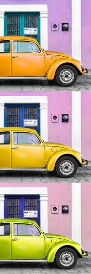 ¡Viva Mexico! Panoramic Collection - Three VW Beetle Cars with Colors Street Wall XXXIII-Philippe Hugonnard-Photographic Print