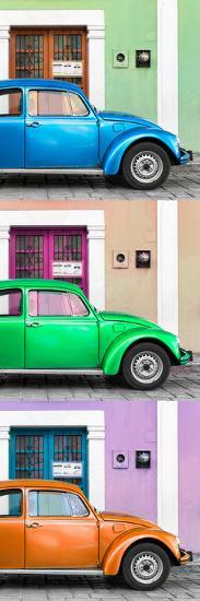 ¡Viva Mexico! Panoramic Collection - Three VW Beetle Cars with Colors Street Wall XXXIX-Philippe Hugonnard-Photographic Print