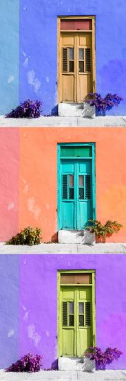 ¡Viva Mexico! Panoramic Collection - Tree Colorful Doors X-Philippe Hugonnard-Photographic Print
