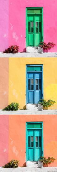 ¡Viva Mexico! Panoramic Collection - Tree Colorful Doors XII-Philippe Hugonnard-Photographic Print