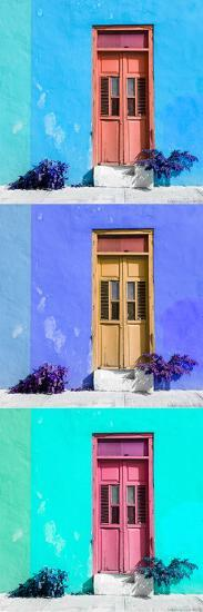 ¡Viva Mexico! Panoramic Collection - Tree Colorful Doors XIII-Philippe Hugonnard-Photographic Print