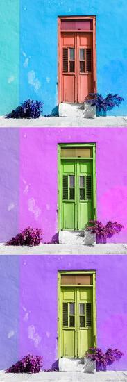 ¡Viva Mexico! Panoramic Collection - Tree Colorful Doors XIV-Philippe Hugonnard-Photographic Print