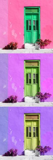 ¡Viva Mexico! Panoramic Collection - Tree Colorful Doors XV-Philippe Hugonnard-Photographic Print
