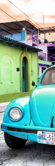 ¡Viva Mexico! Panoramic Collection - Turquoise VW Beetle Car and Colorful Houses-Philippe Hugonnard-Photographic Print