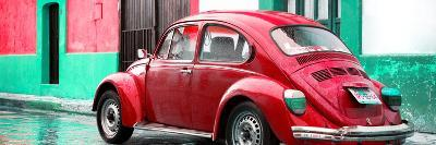 ¡Viva Mexico! Panoramic Collection - VW Beetle and Red Wall-Philippe Hugonnard-Photographic Print