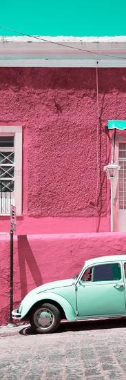 ¡Viva Mexico! Panoramic Collection - VW Beetle Car and Pink Wall-Philippe Hugonnard-Photographic Print