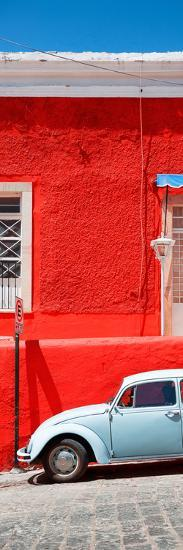 ¡Viva Mexico! Panoramic Collection - VW Beetle Car and Red Wall-Philippe Hugonnard-Photographic Print