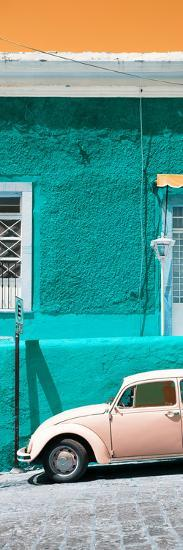 ¡Viva Mexico! Panoramic Collection - VW Beetle Car and Turquoise Wall-Philippe Hugonnard-Photographic Print