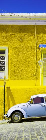 ¡Viva Mexico! Panoramic Collection - VW Beetle Car and Yellow Wall-Philippe Hugonnard-Photographic Print