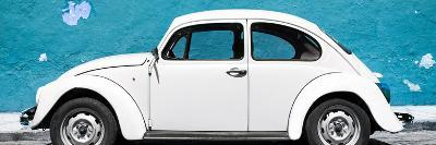 ¡Viva Mexico! Panoramic Collection - White VW Beetle Car and Blue Street Wall-Philippe Hugonnard-Photographic Print