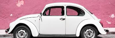 ¡Viva Mexico! Panoramic Collection - White VW Beetle Car and Light Pink Street Wall-Philippe Hugonnard-Photographic Print