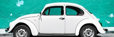 ¡Viva Mexico! Panoramic Collection - White VW Beetle Car and Turquoise Street Wall-Philippe Hugonnard-Photographic Print