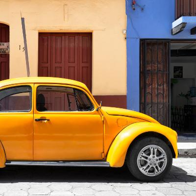 "¡Viva Mexico! Square Collection - ""15 Street"" Dark Yellow VW Beetle Car-Philippe Hugonnard-Photographic Print"