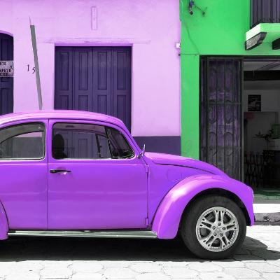 "¡Viva Mexico! Square Collection - ""15 Street"" Purple VW Beetle Car-Philippe Hugonnard-Photographic Print"