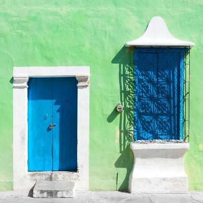 """¡Viva Mexico! Square Collection - """"172 Street"""" Blue & Green-Philippe Hugonnard-Photographic Print"""